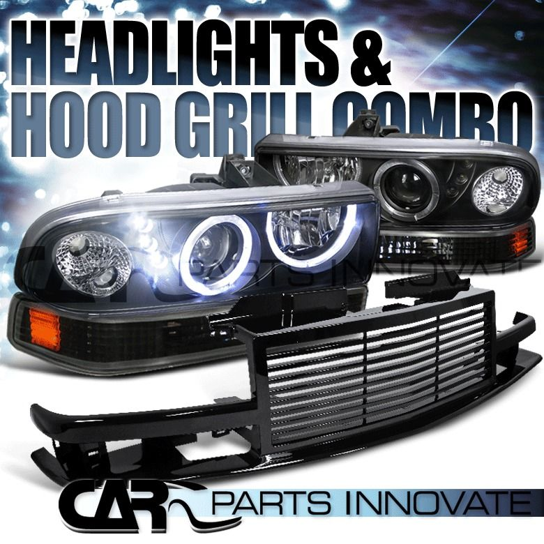 1998-2004 Chevy S10 Black Halo SMD LED Projector Headlights+Smoke Tail Lamp