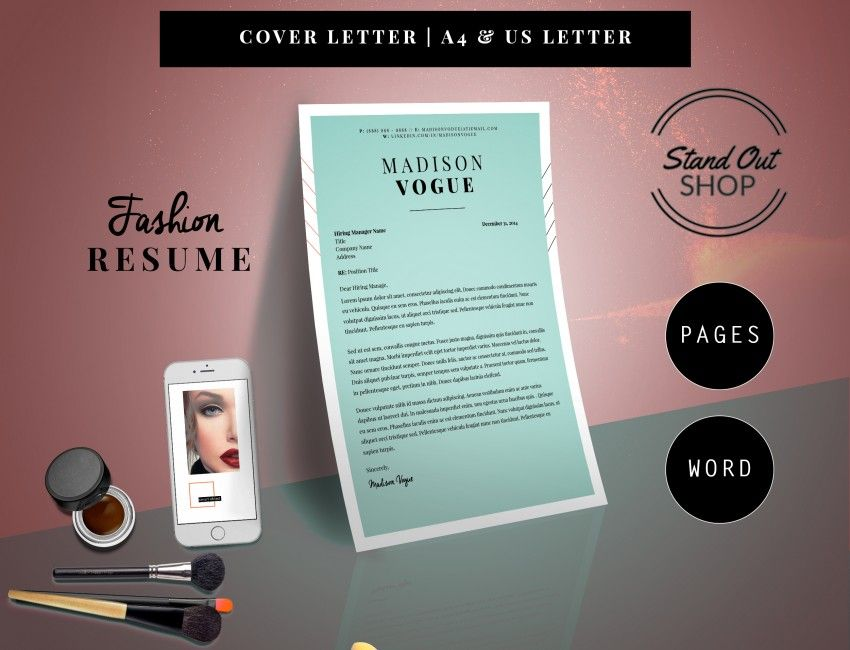 Madison Vogue Fashion Forward Resume Template  Pack  Stand Out