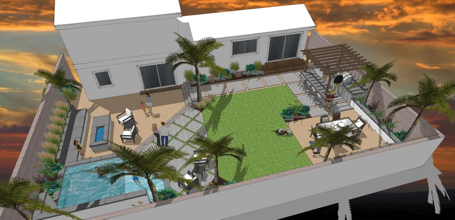 shallow wide backyard - Google Search | Outdoor Spaces ...
