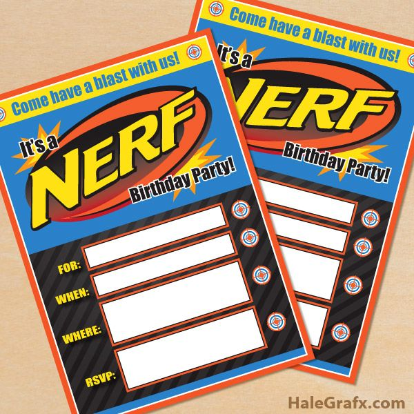Playful image with free printable nerf birthday invitations