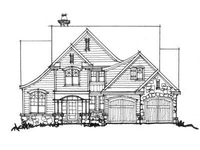 "CONCEPTUAL HOUSE PLAN 1441: NARROW-LOT LUXURY - HousePlansBlog.DonGardner.com – New House Plan on the Drawing Board 1441 features the comforts of a luxury home contained in a narrow footprint! Width - 52'4"" Depth - 94'4"" #dreamhomeplan #dreamhouseplan #homeplan"
