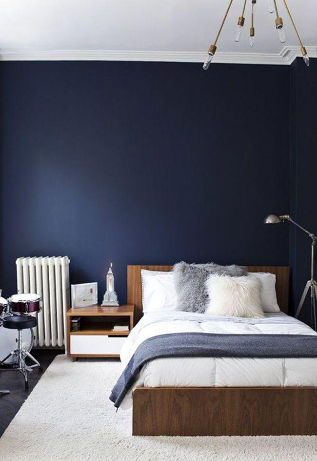 chambre mur bleu fonce | couleur murs | Pinterest | Murs bleu ...