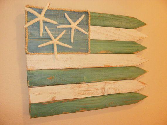 Americana Seaside Flag / Wall Decor | Wooden flag, Beach and Wall decor
