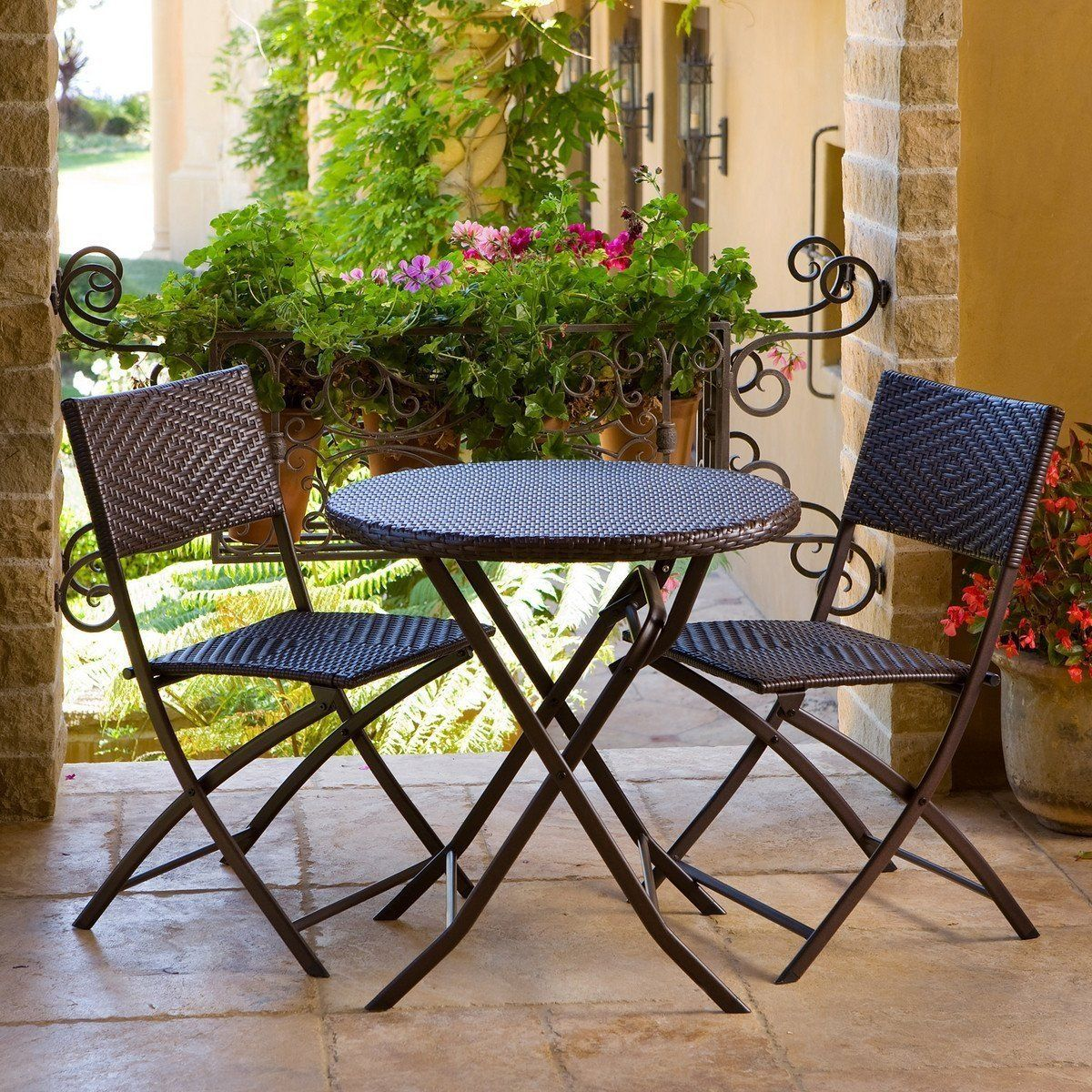 3 Piece Outdoor Bistro Patio Furniture Set In Espresso Bistro