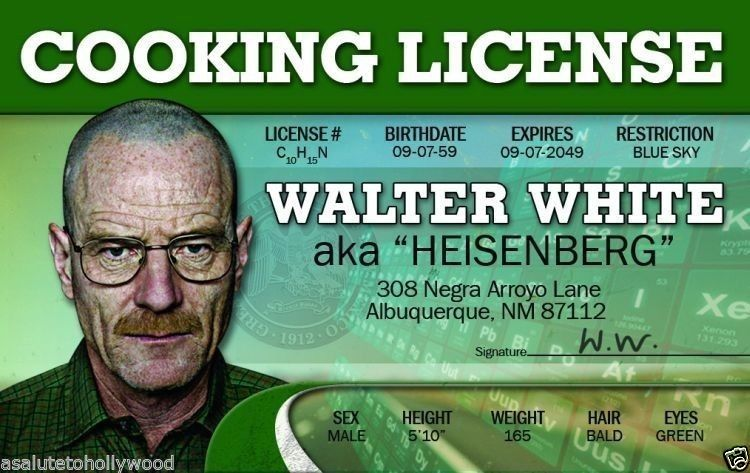 Bryan Cranston Breaking Bad Drivers License Walter White Cooking