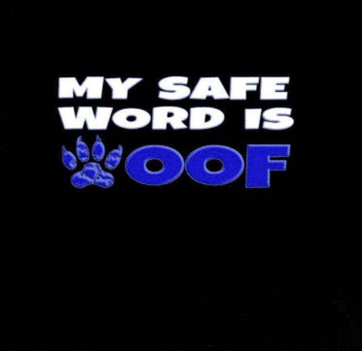 Safe Word WOOF Shirt | BDSM Pup Play Fetish Tshirt | Bondage Roleplay Short-Sleeve Unisex T-Shirt by JJsPrintShop on Etsy #safeword #bodageshirt #bdsmshirt #woof #gaypup #humanpup #puppyplay #petplay #adultroleplay #gayfetish #domsub