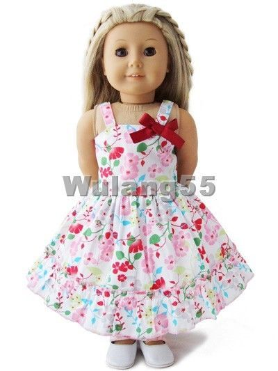 """Doll Clothes fits 18"""" American Girl Handmade Red Floral Slip Dress #wulang55 #DollClothes"""