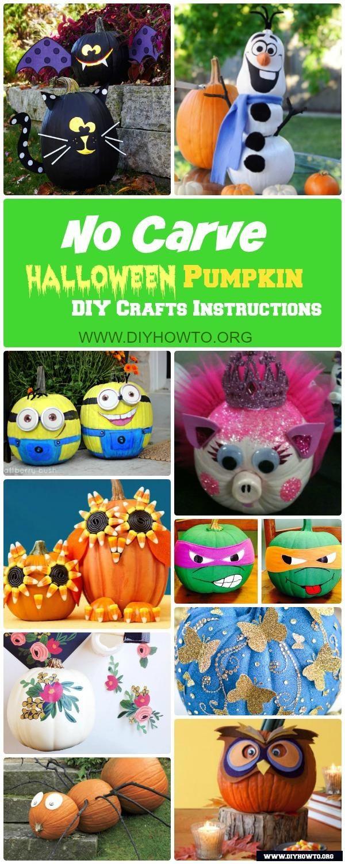 No Carve Halloween Pumpkin Decoration Crafts & Instructions ...