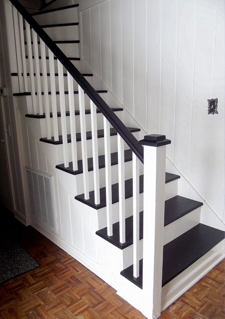 Black and white painted staircase transformation - Painting wooden stairs white ...