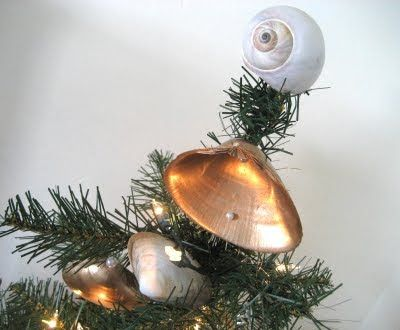 moon shell as tree topper and DIY seashell ornaments Christmas