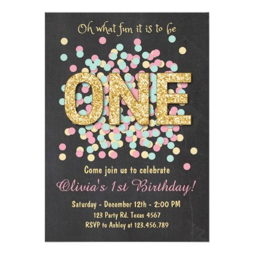 First Birthday Party In A Box In Gold Mint And Pink: First Birthday Invitation Girl Pink Gold Mint
