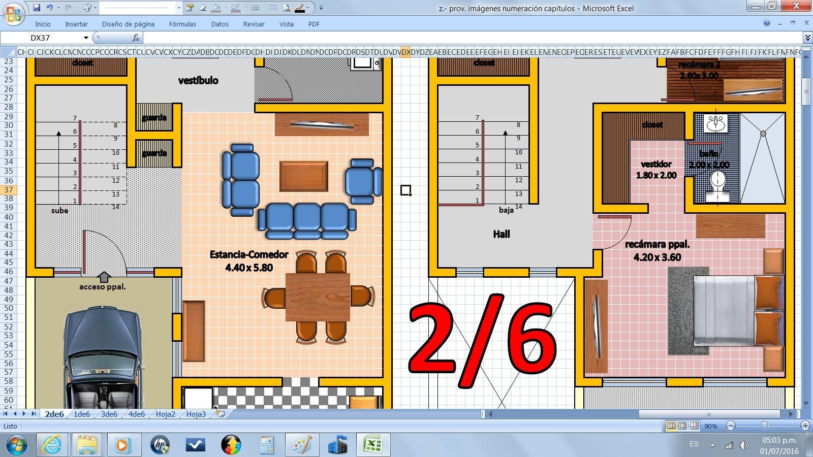 2 6 como dibujar planos de casas f cil con excel sin for Como dibujar un plano de una casa