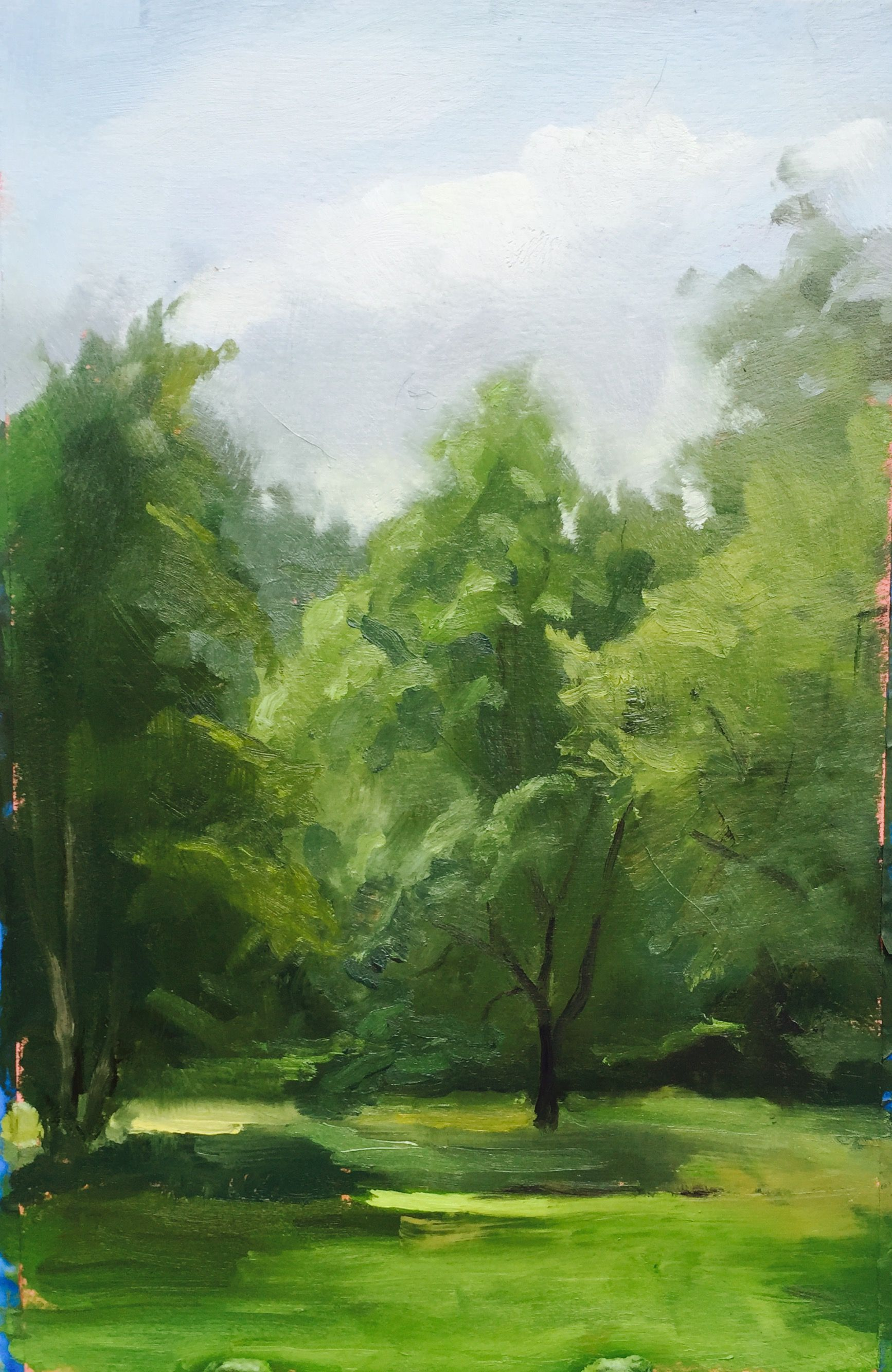 Trees at Bloomfield Farm 8x12 plein air Plein air