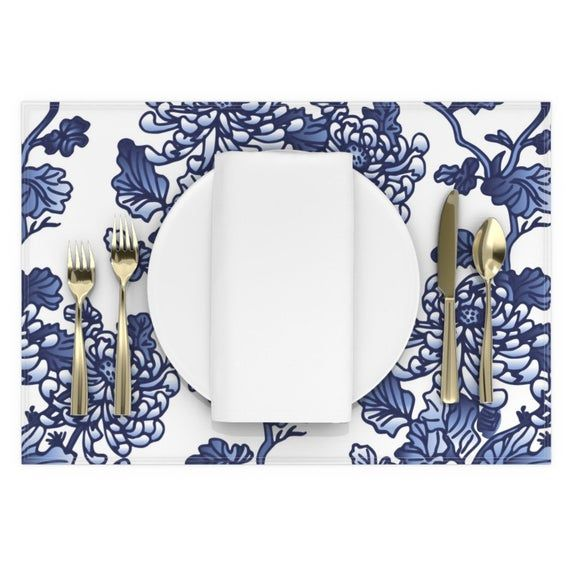 Floral Placemats (Set of 2) - Chinoiserie by olgart - Blue Peonies  Spring Kitchen Home Decor Flowers Modern Cloth Placemats by Spoonflower #bluepeonies