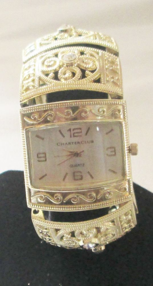Charter Club Women's Gold-Tone Filigree and Crystal Bangle Bracelet Wristwatch #CharterClub #Bangle