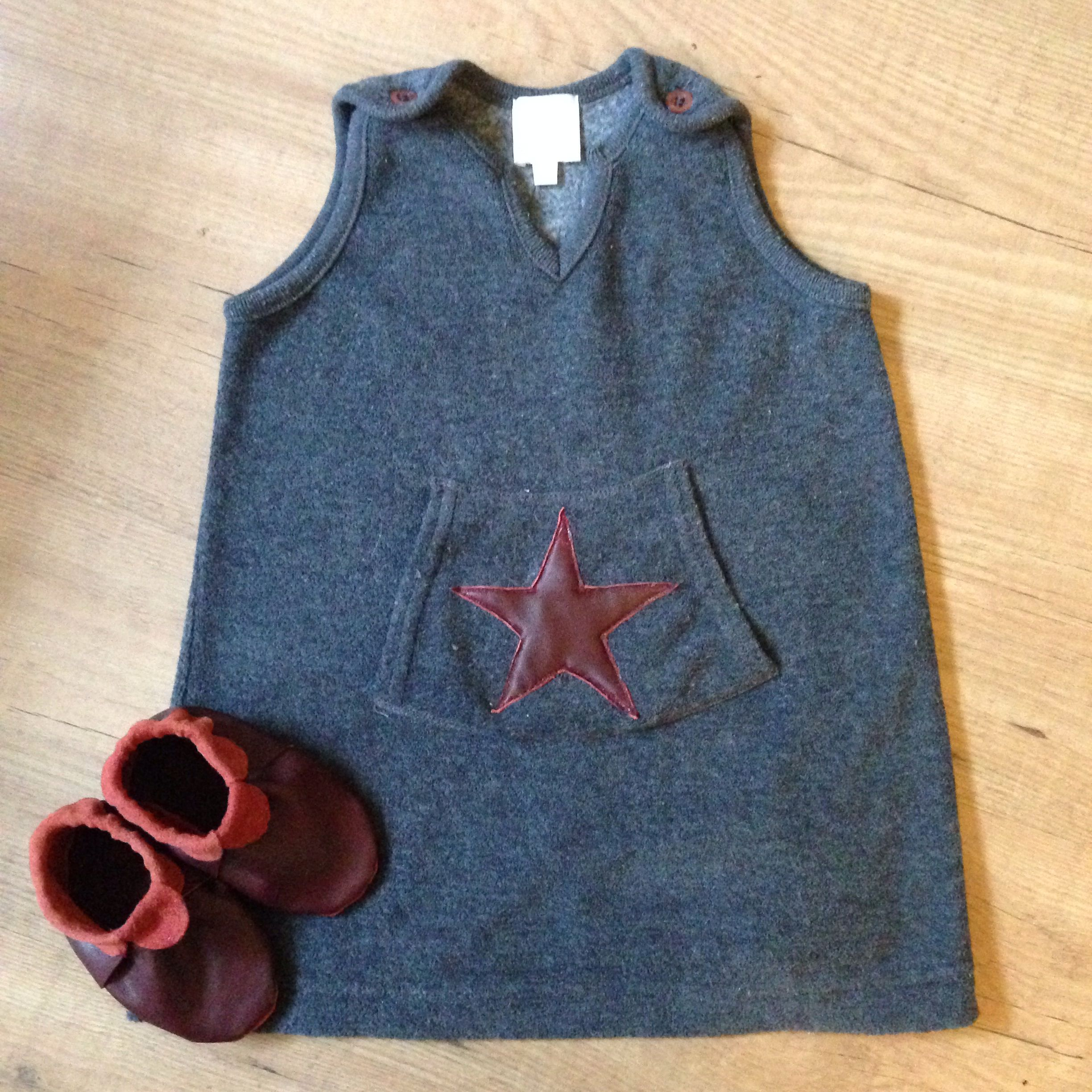 Leather star application on thrifted dress