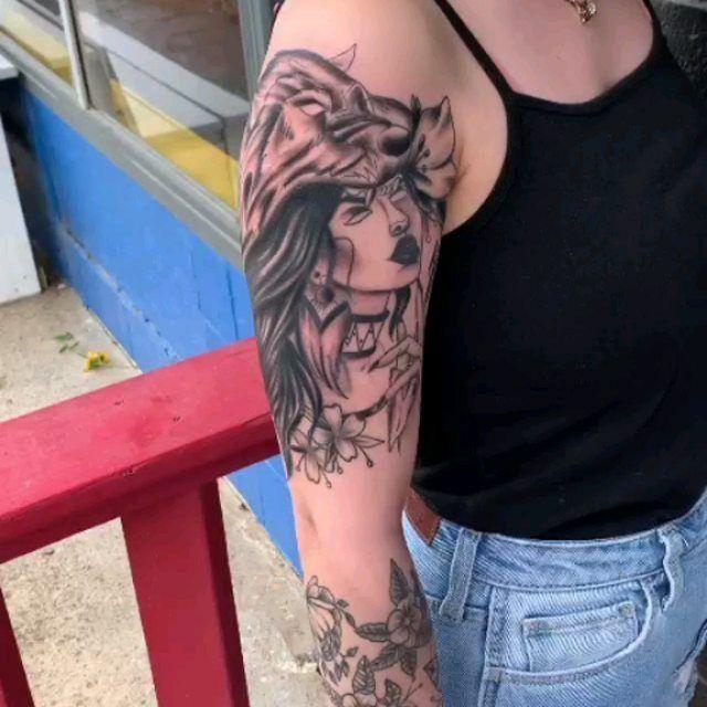 So happy to have this finished!! Thank you!! @shawnnoyes865 #artistsoninstagram #artistic #tattoo #portrait #wolftattoo #armtattoo #blackandgreytattoo