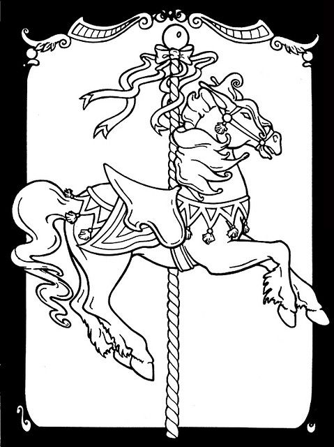 Carousel horses stained glass coloring book colouring pages pinterest coloriage colorier - Dessin a imprimer de cheval ...