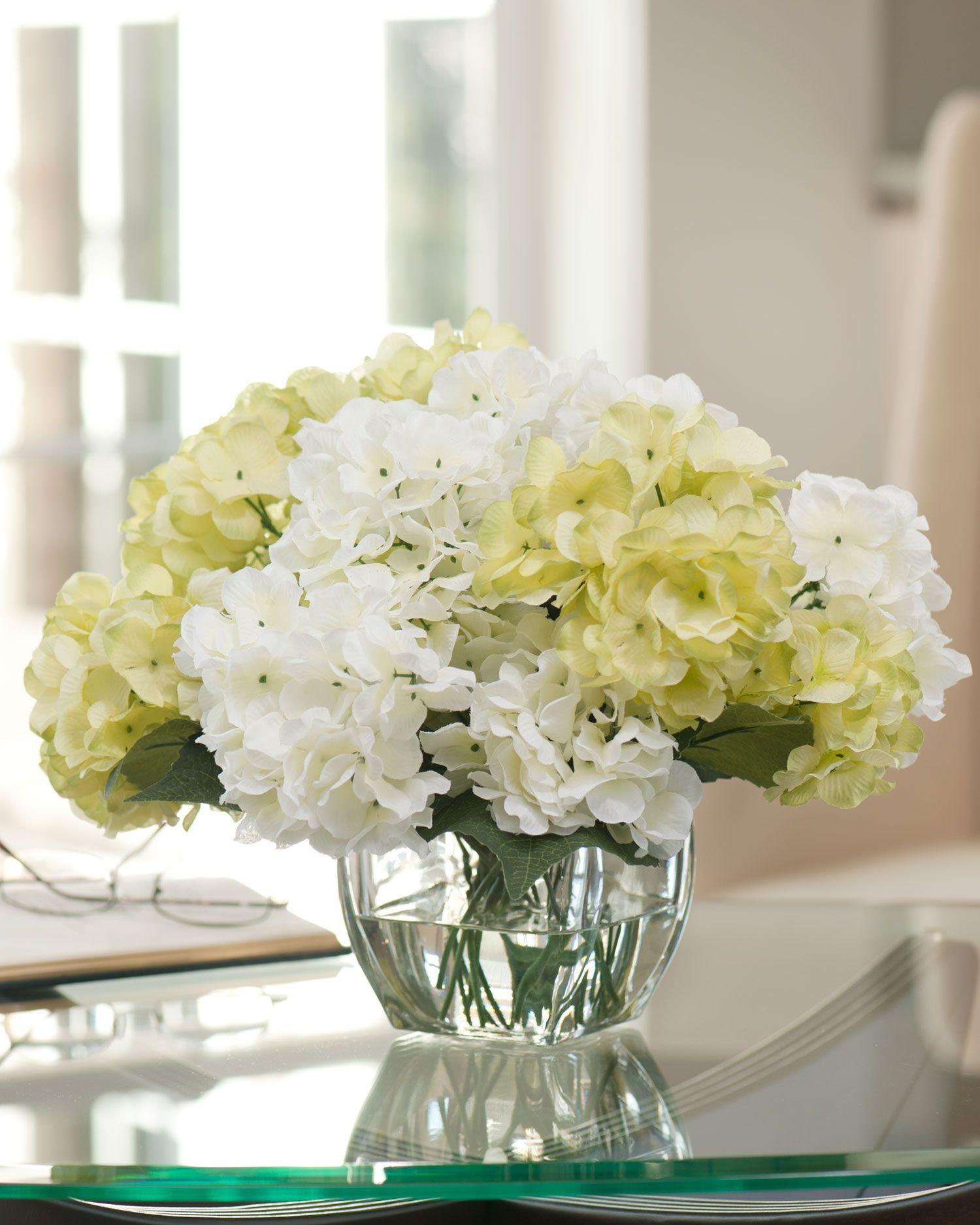 Silk Hydrangea Centerpiece Dining room centerpiece