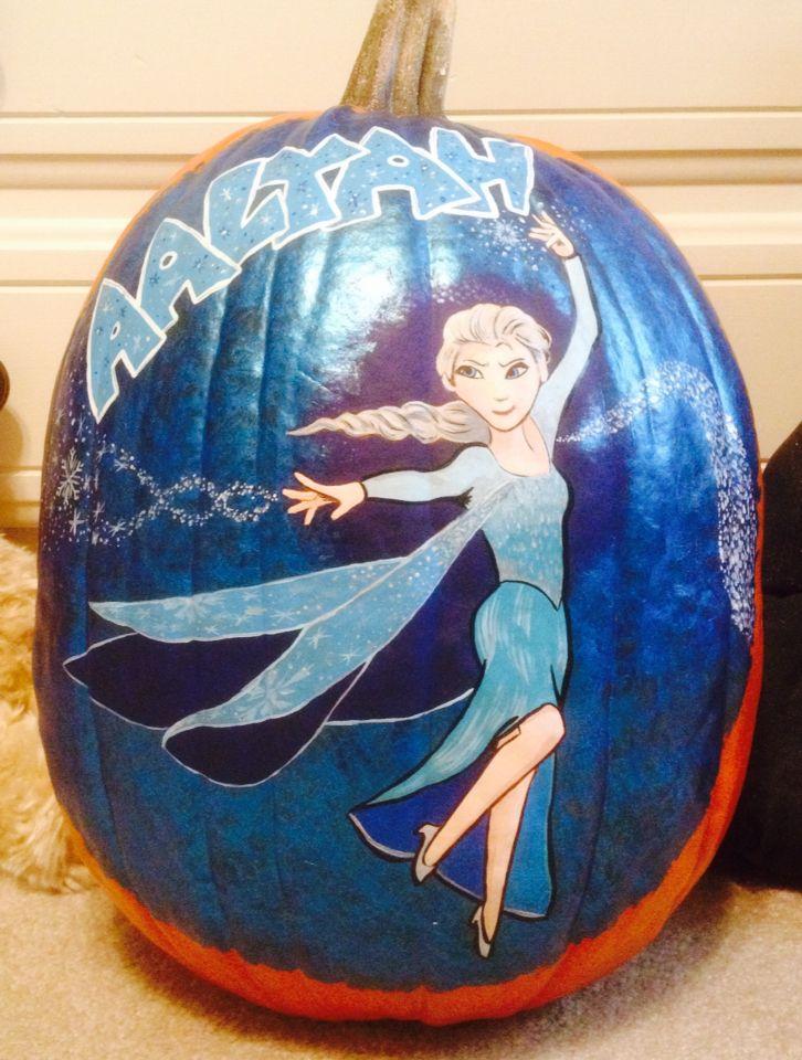 Elsa (Frozen) painted pumpkin