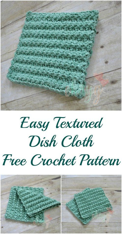 Easy textured dish cloth free crochet pattern | Crocheting, Sewing ...