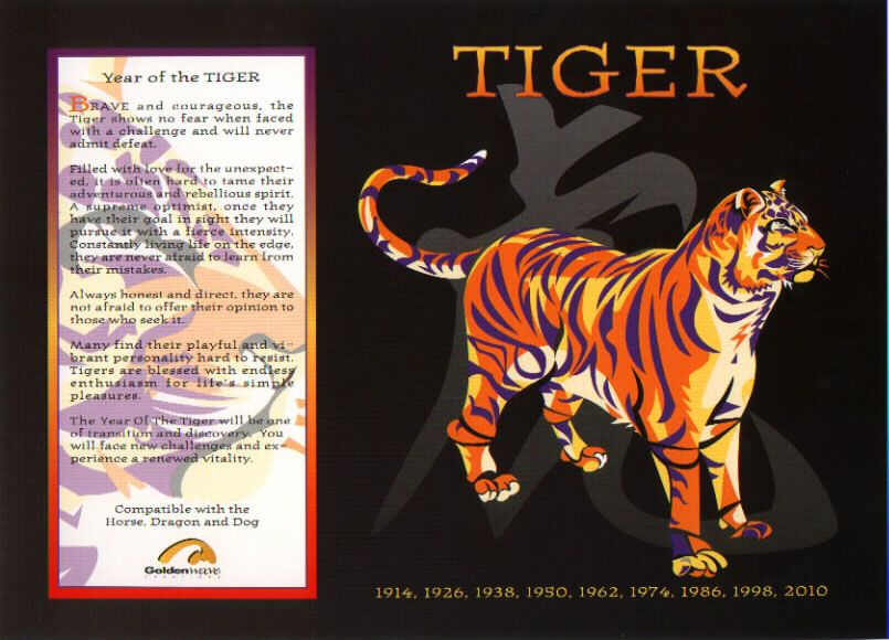 Chinese Horoscope Signs The Tiger Chinese Astrology Year Of The Tiger Chinese Zodiac Tiger