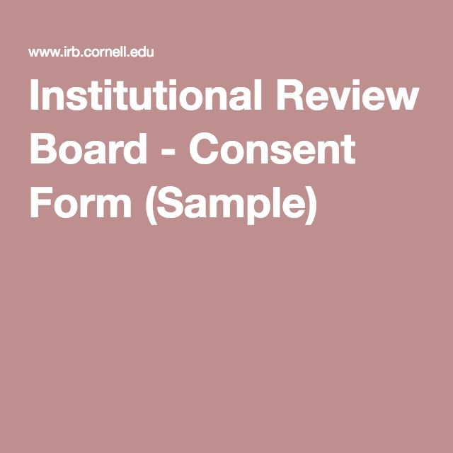 Institutional Review Board - Consent Form (Sample) AT Pinterest