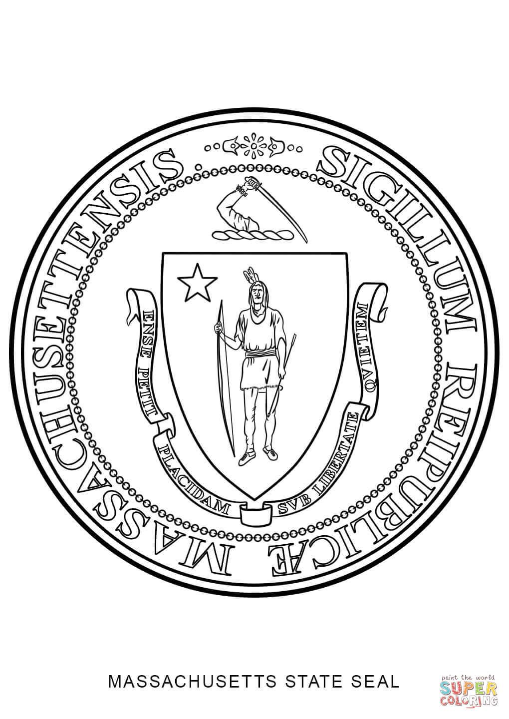 Massachusetts State Seal Coloring Page Coloring Pages Kansas Flag