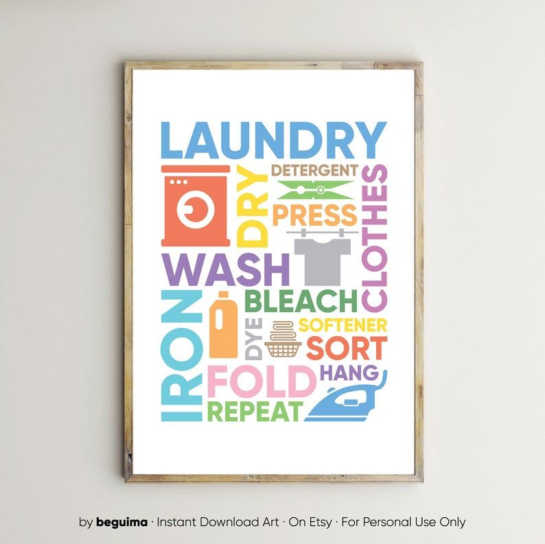 Laundry Prints,Laundry Room Decor,Wash Dry Fold Repeat,Sign,Large Printable Wall Art,Posters,Modern,Illustration,Colorful,Digital Download