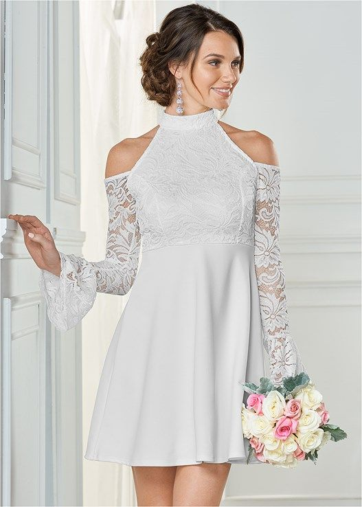 4a72421bf6f02 Sheer lace with slight bell sleeve and cold shoulders complements the high  neck of this ready-to-wed Cold Shoulder Lace Dress.