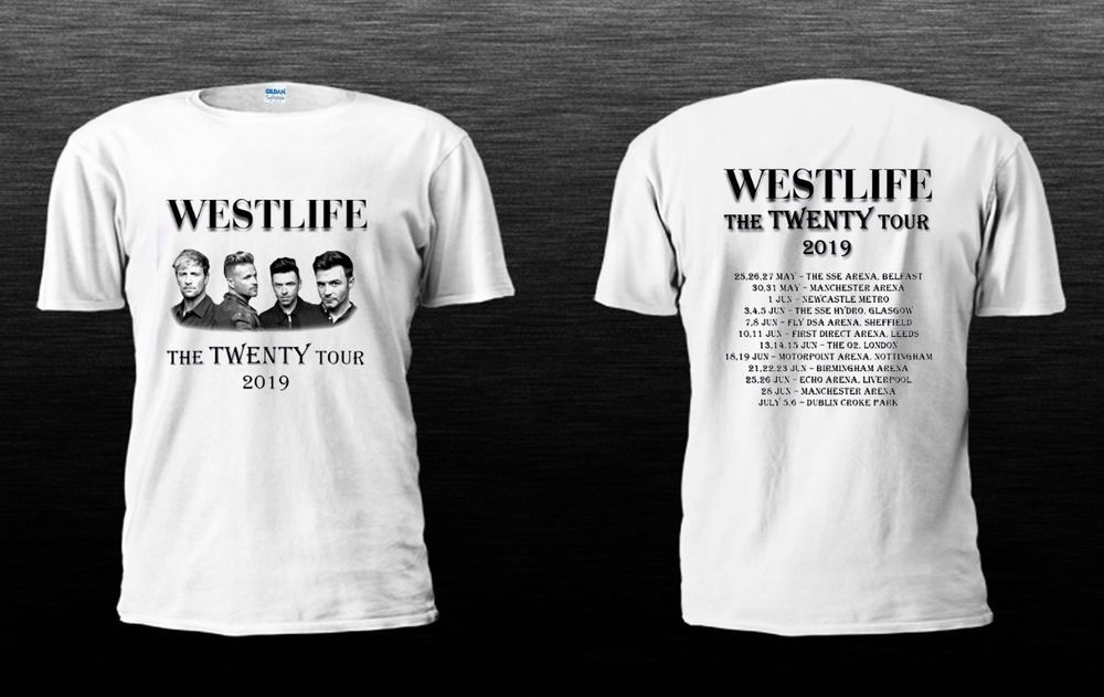 New West life the Twenty tour 2019 White T-shirt size S to