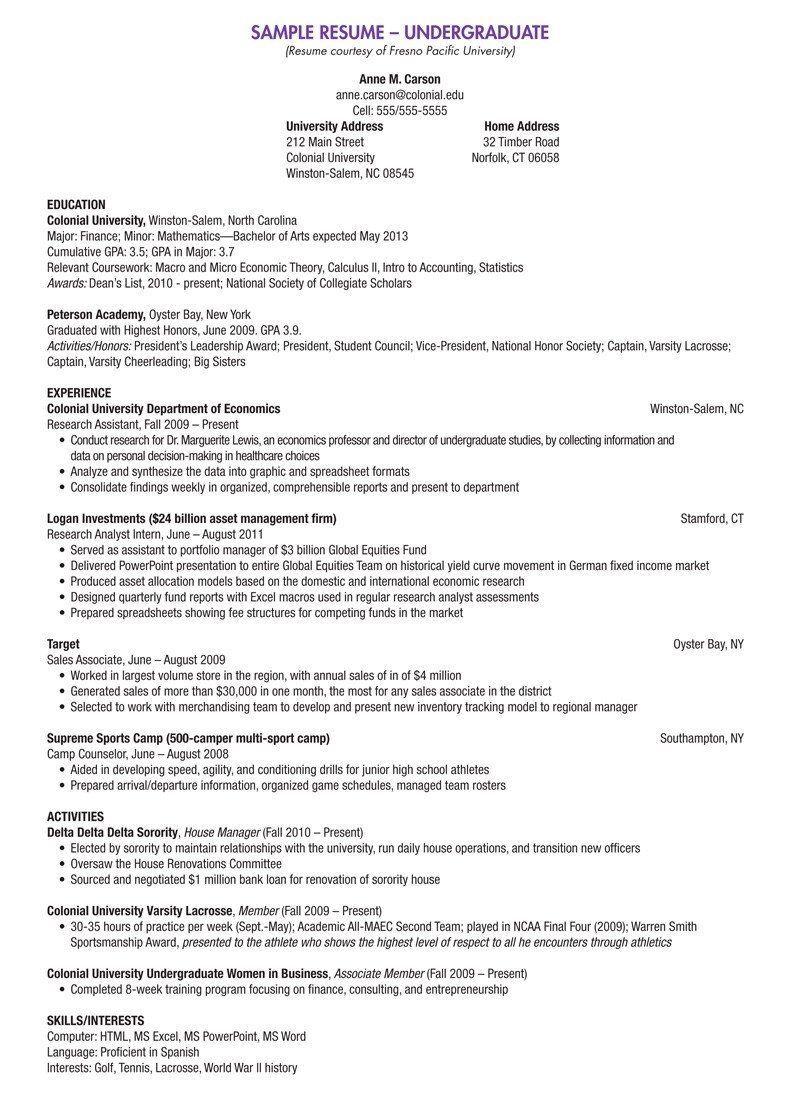 Resume Templates Undergraduate Student Resume Template College Resume Resume Examples