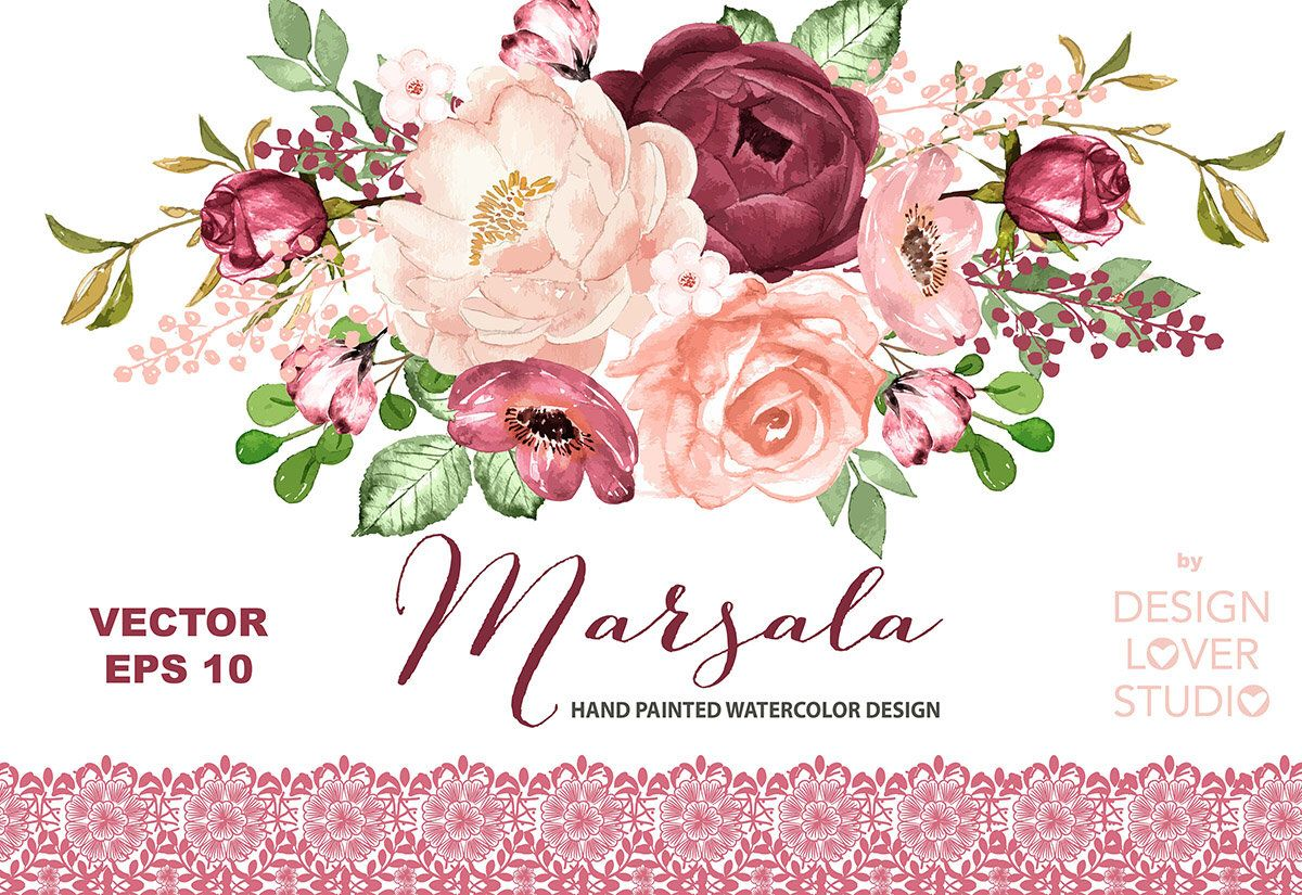 Vector Watercolor Marsala Dreams Design Spring Watercolor Flower