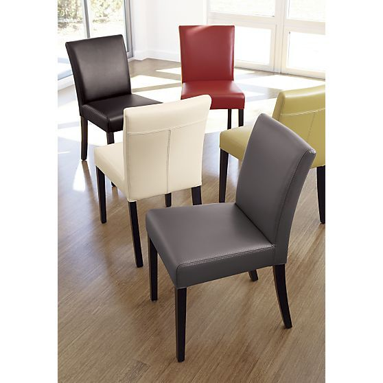 Lowe Smoke Leather Side Chair in Dining Chairs | Crate and ...