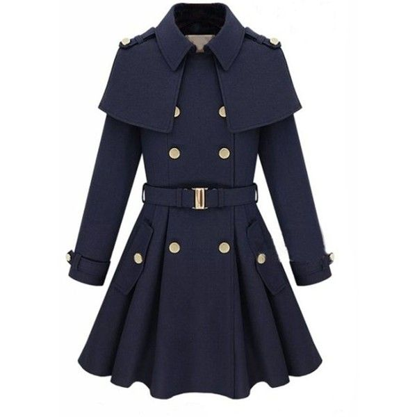 Chic Polo Collar Breasted With Pockets Trench-coats (75 CAD) ❤ liked on f5cb3431e6