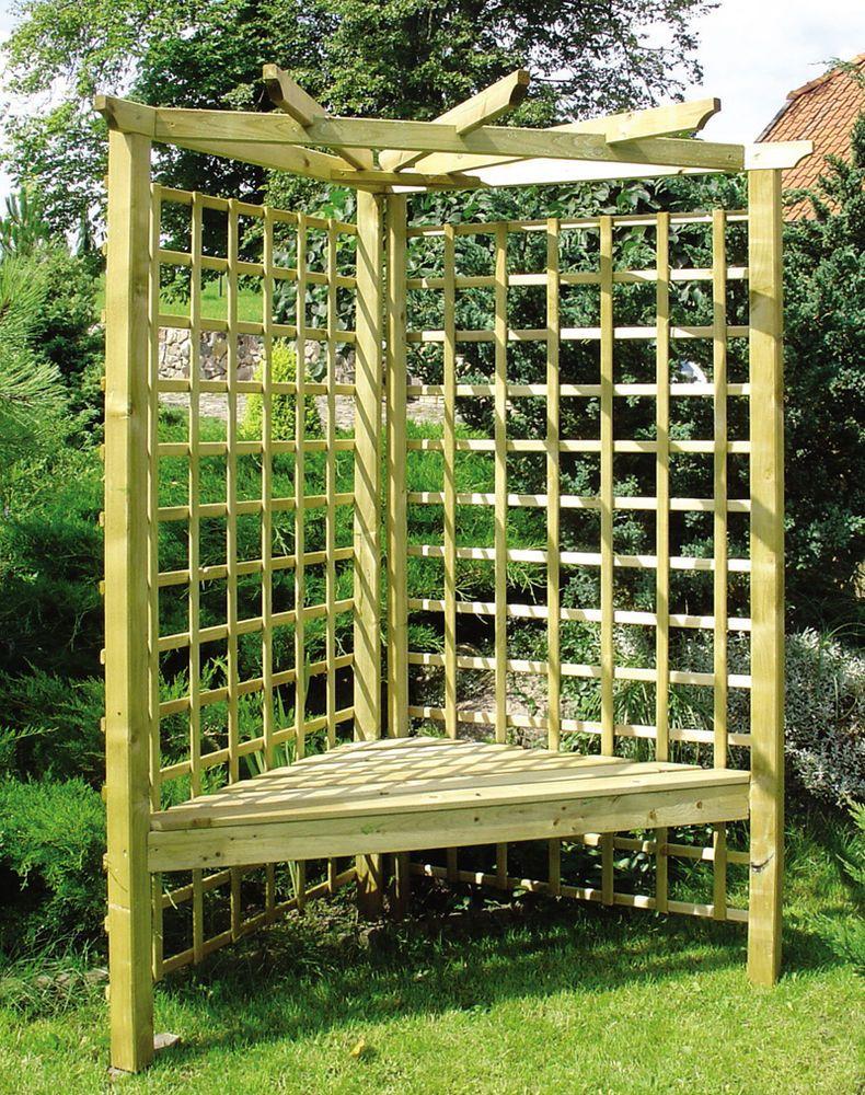 Corner Garden Arbour Pergola Seat Trellis Bench FREE