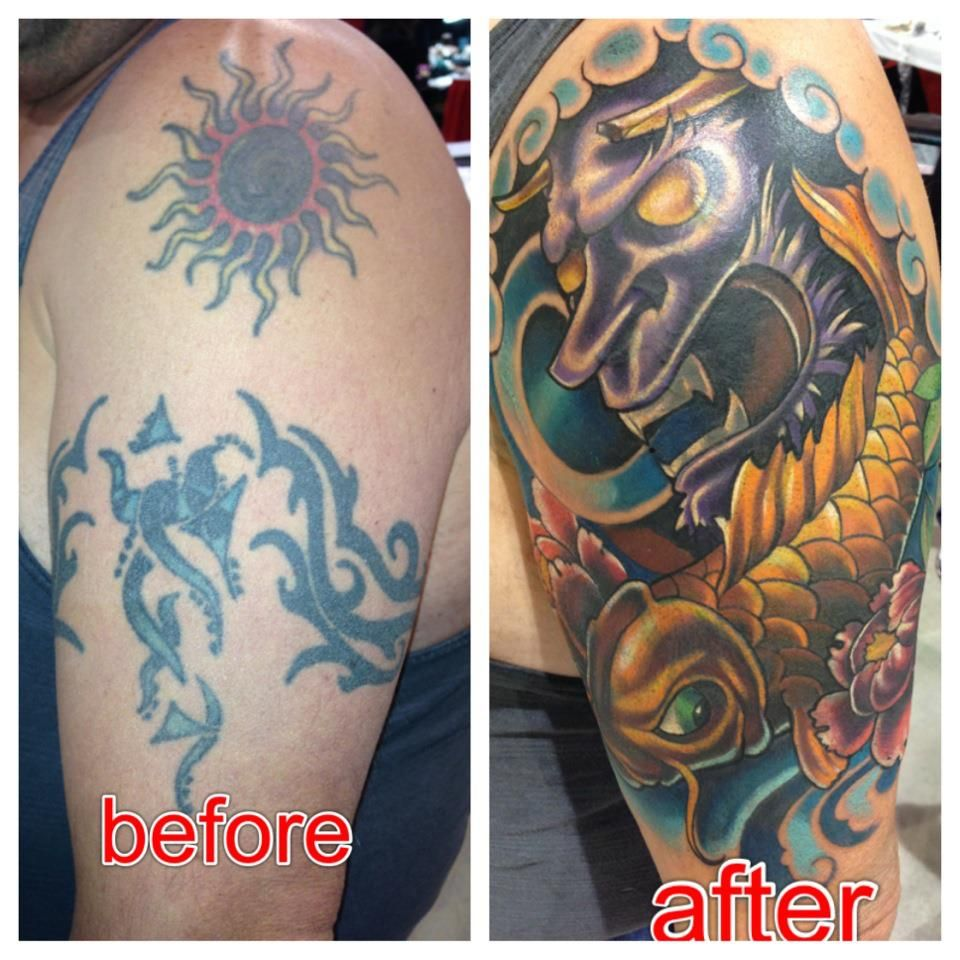 29b3bad9c Tribal Tattoo cover up with Japanese Mask and koi | Tattoos | Cover ...
