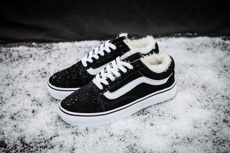 Vans Old Skool Black Fleece Inner Winter Skate Shoes