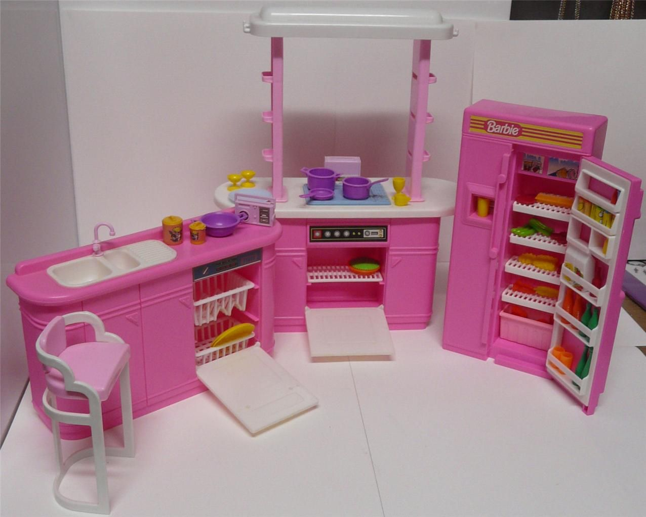 barbie kitchen playset furniture 1990 arcotoys mattel 8754