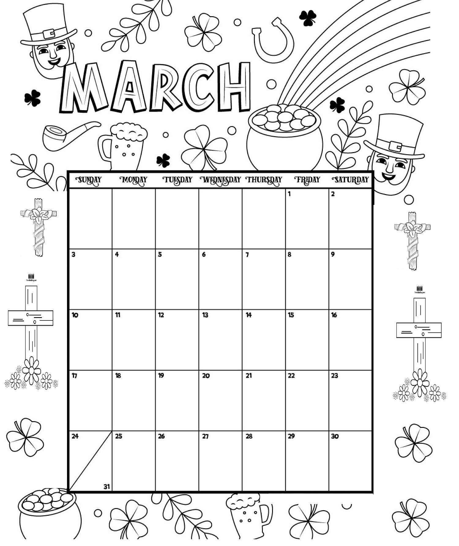 March Printable Coloring Calendar