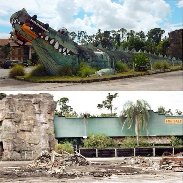 Abandoned Jungleland Safari In Florida. The Alligator Was