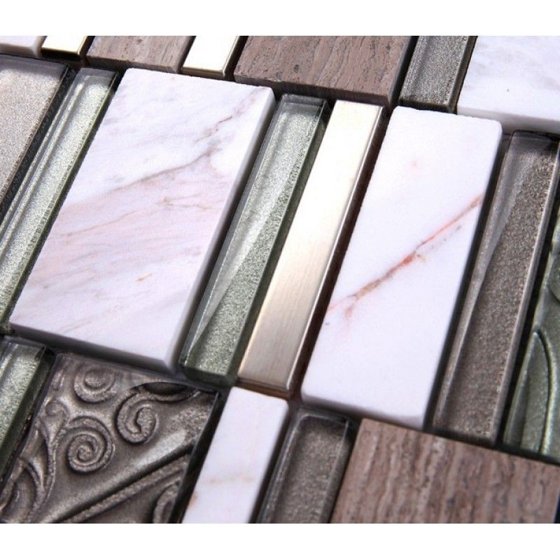 Stone And Glass Mosaic Sheets Stainless Steel Backsplash Cheap Metal