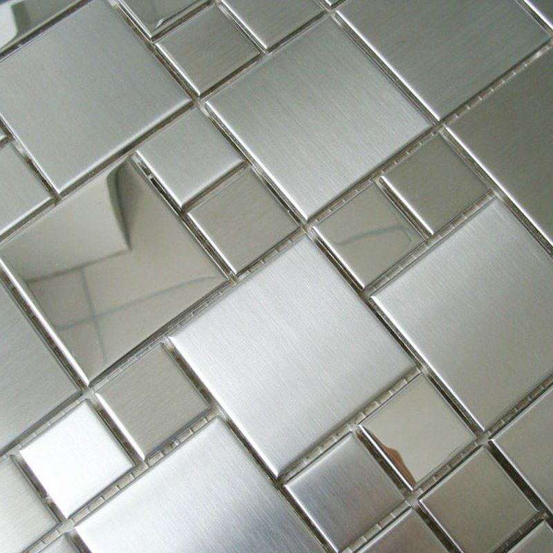 Mosaic Tile Mirror Sheets Square Brushed 304 Stainless Steel Deco