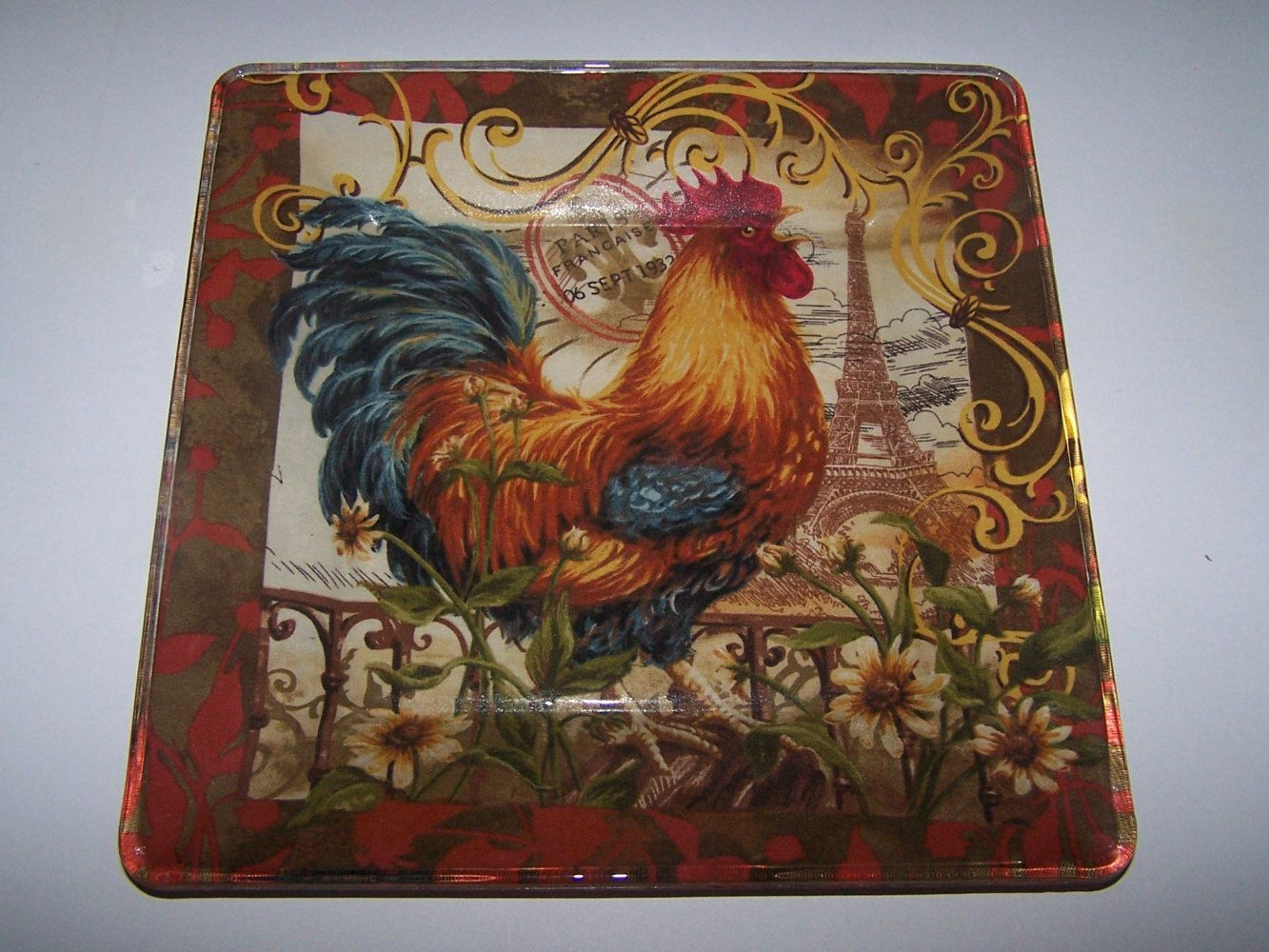 rooster decorated plate kitchen art chicken collector decoupage rh pinterest com