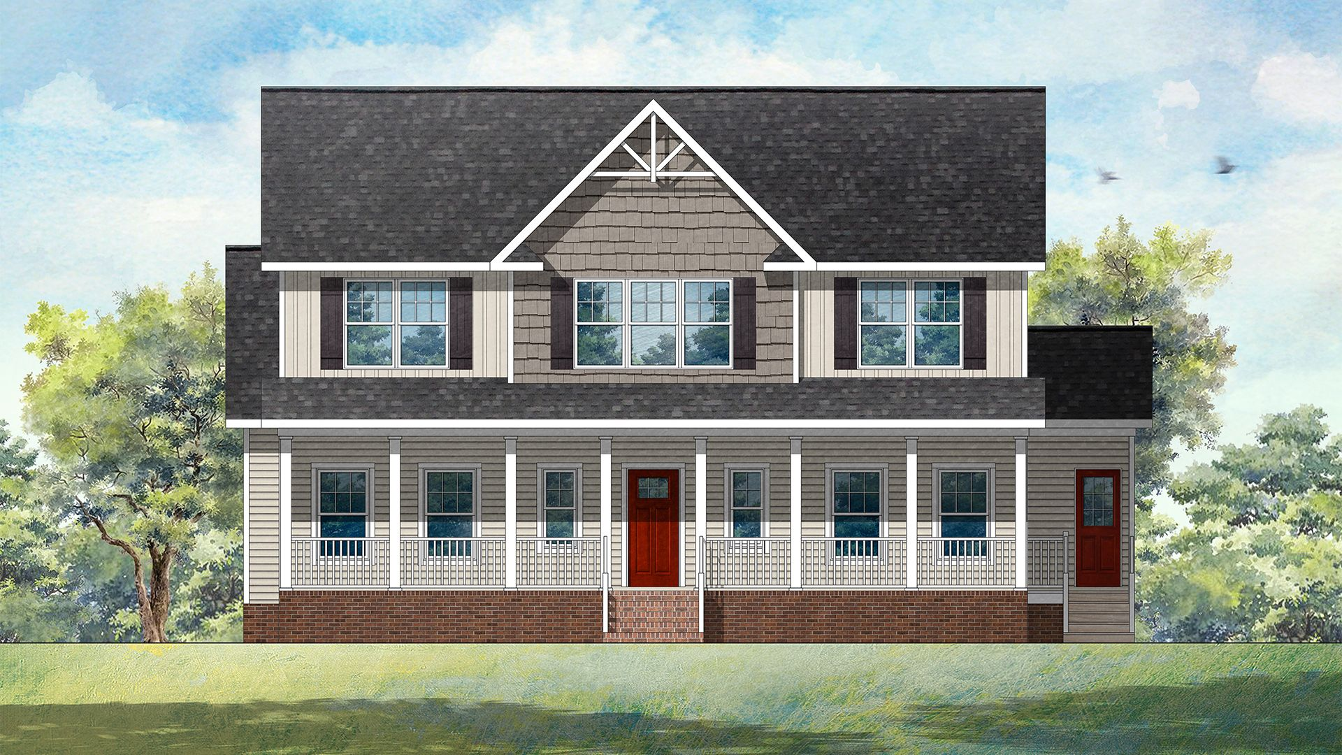 This Broad Shouldered Two Story House Plan Captures Old Time Ambiance With A Large Front Porch And A Ce House Front Porch Two Story House Plans House Exterior