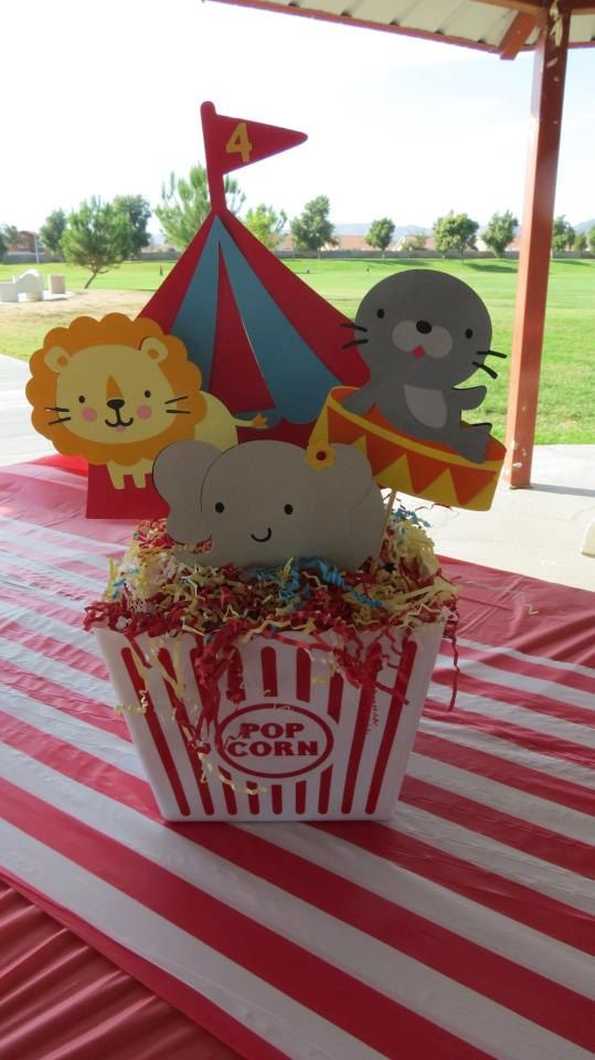 Circus Theme Decoration Ideas Part - 29: Another Cute Circus Theme Centerpiece. Love How They Used The Popcorn Box.