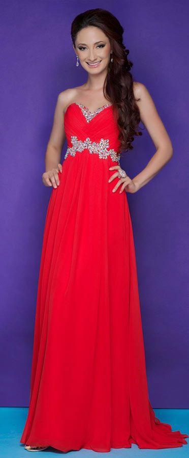 Robe de soiree rouge strass