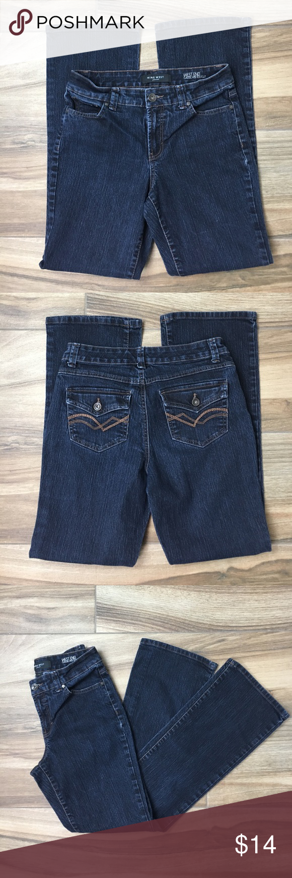 """Nine West Dark Wash Size 6 Bootcut Stretch Jeans Very Nice Pre-Loved Woman's Nine West Westend Classic Rise Bootcut. Size 6, Stretch, Dark Wash. All measurements are done by hand while laid flat. Waist 14.5"""" (29"""") Rise 9.25"""", Outseam 39.25"""", Inseam 30"""". Please ask any questions and THANK YOU for shopping! 👖 Nine West Jeans Boot Cut"""