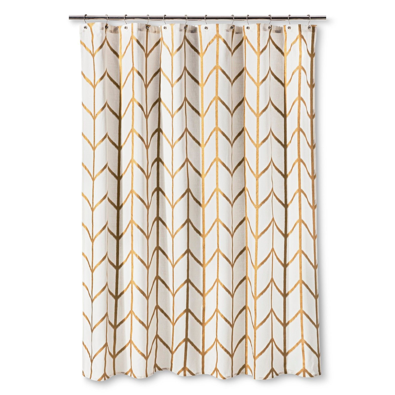 The gold ikat shower curtain from threshold gives your - Target bathroom shower curtain sets ...