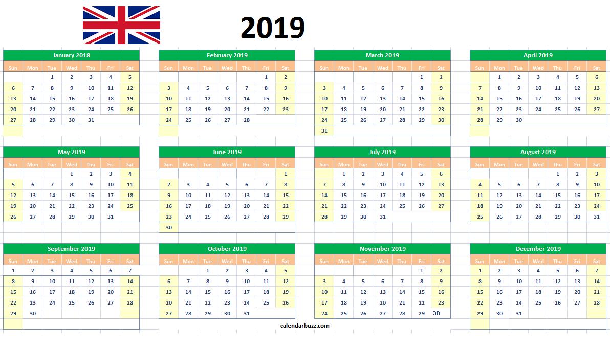 2019 Uk Excel Calendar Printable 2019 Calendars Pinterest
